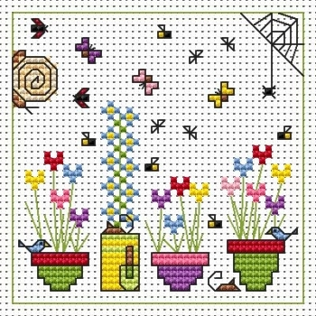 Sidney Snail and Flowerpots Cross Stitch Card