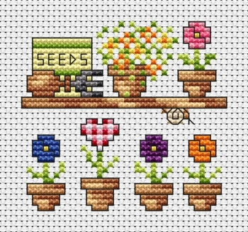 Garden Shelf Cross Stitch Card