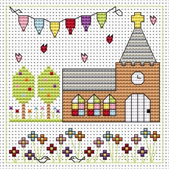 Church Celebration Cross Stitch Card (Wedding)
