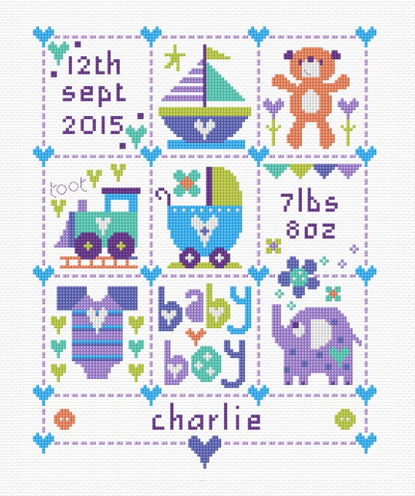 Baby Boy Squares - Baby Birth Sampler Cross Stitch