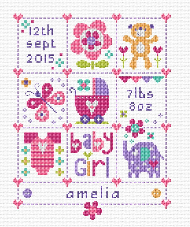 Baby Girl Squares Baby Birth Sampler