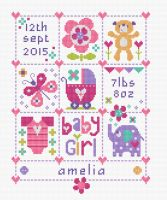 Baby Girl Squares - Baby Birth Sampler