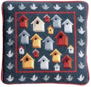 Bird Houses Tapestry Kit (Plain Canvas)
