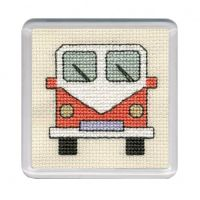 Orange Campervan Cross Stitch Coaster