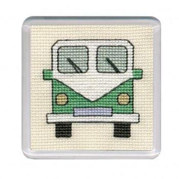 Green Campervan Cross Stitch Coaster
