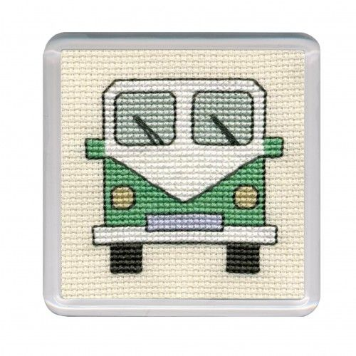 Green Campervan Cross Stitch Coaster