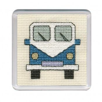 Blue Campervan Cross Stitch Coaster