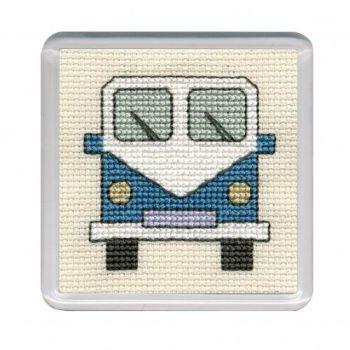Blue Campervan Cross Stitch Coaster