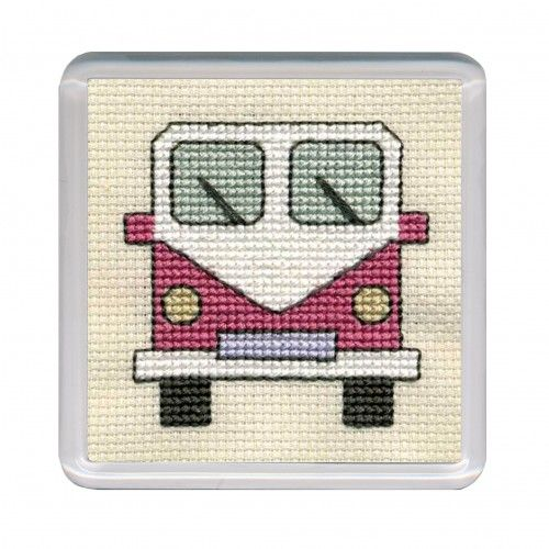 Pink Campervan Cross Stitch Coaster