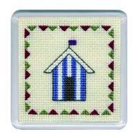 Blue Beach Hut Cross Stitch Coaster