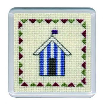 Blue Beach Hut Cross Stitch Coaster
