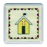 Yellow Beach Hut Cross Stitch Coaster
