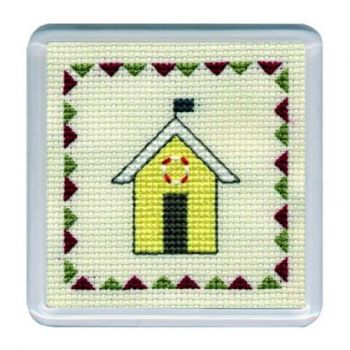 Yellow Beach Hut Cross Stitch Coaster