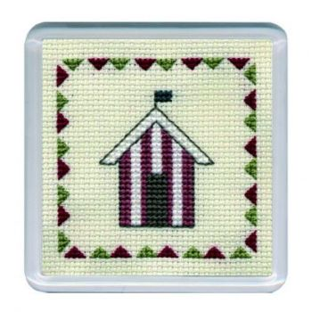 Red Beach Hut Cross Stitch Coaster