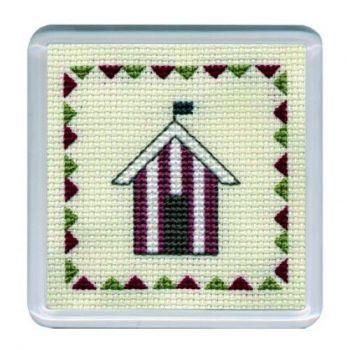 Red Beach Hut Cross Stitch Coaster