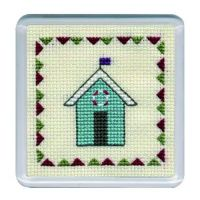 Turquiose Beach Hut Cross Stitch Coaster