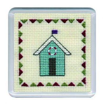 Turquiose Beach Hut Cross Stitch Coaster
