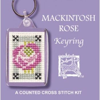 Mackintosh Rose Cross Stitch Keyring