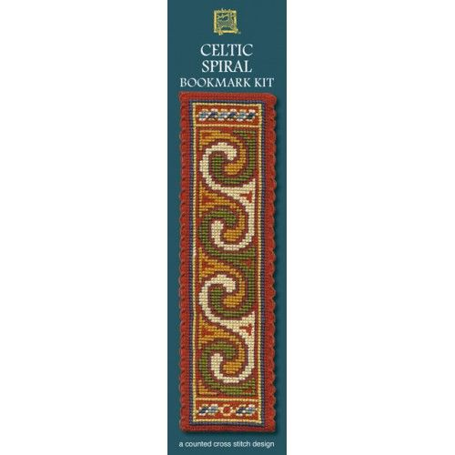 Celtic Spiral Terracotta Cross Stitch Bookmark