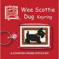 Scottie Dog Knot Cross Stitch Keyring
