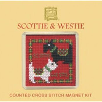 Scotties and Westies Cross Stitch Magnet