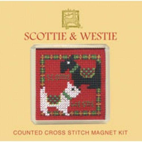 Scotties and Westies Cross Stitch Magnet