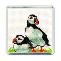 Puffin Cross Stitch Magnet