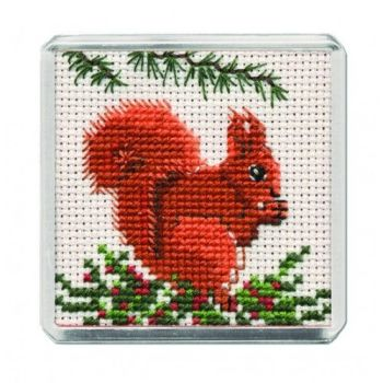 Red Squirrel Cross Stitch Magnet