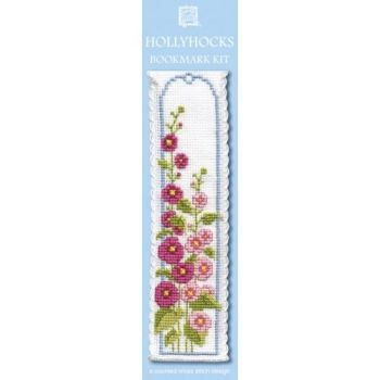 Hollyhocks Cross Stitch Bookmark