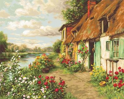 Cottage Landscape - Petit Point Kit