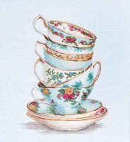Turquoise Tea Cups Cross Stitch - Luca S