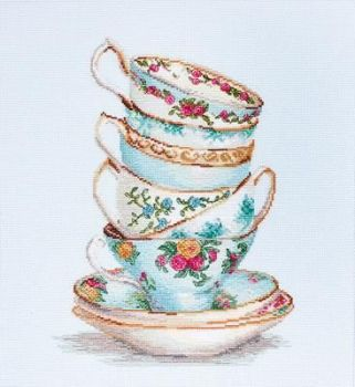Turquoise Tea Cups Cross Stitch - Luca S