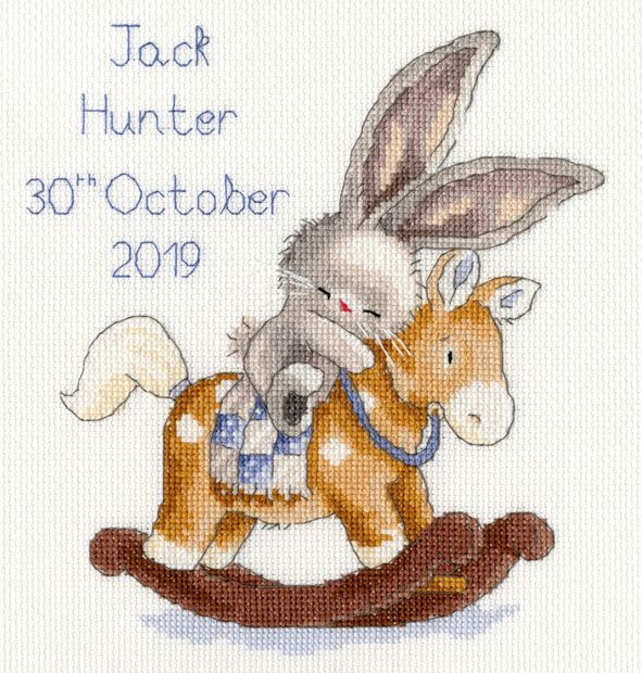 Rock a Bye Bunny Birth Sampler - stitched with Blue threads