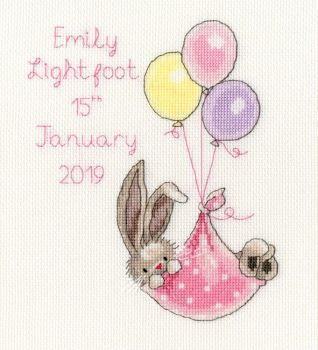 New Delivery Bunny Birth Sampler - Blue or Pink