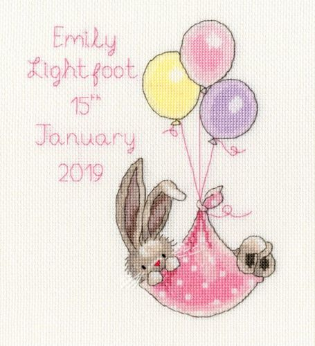 New Delivery Bunny Birth Sampler - stitched in Pink