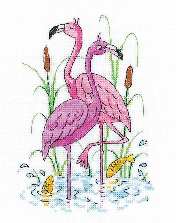 Flamingos Cross Stitch - Heritage Crafts