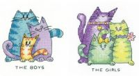 The Boys and The Girls -2 Cat Cross Stitch Kits