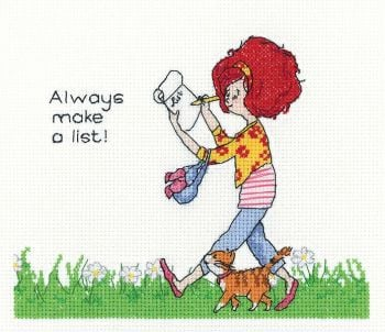 Lavender Lister Cross Stitch - Always Make a List