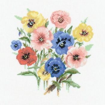Pansy Posy - Valerie Pfeiffer Floral Cross Stitch