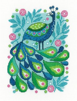Peacock Cross Stitch - Heritage Crafts