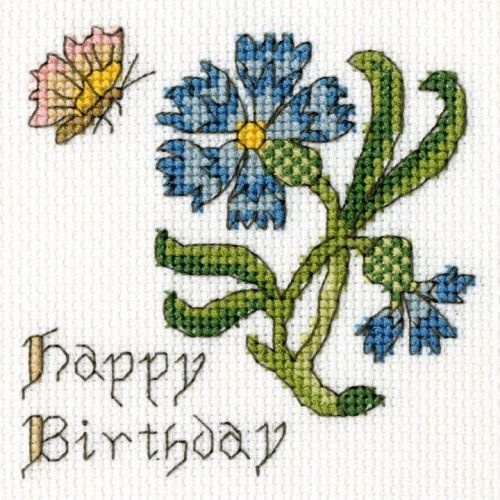 Cornflower Birthday Cross Stitch Card