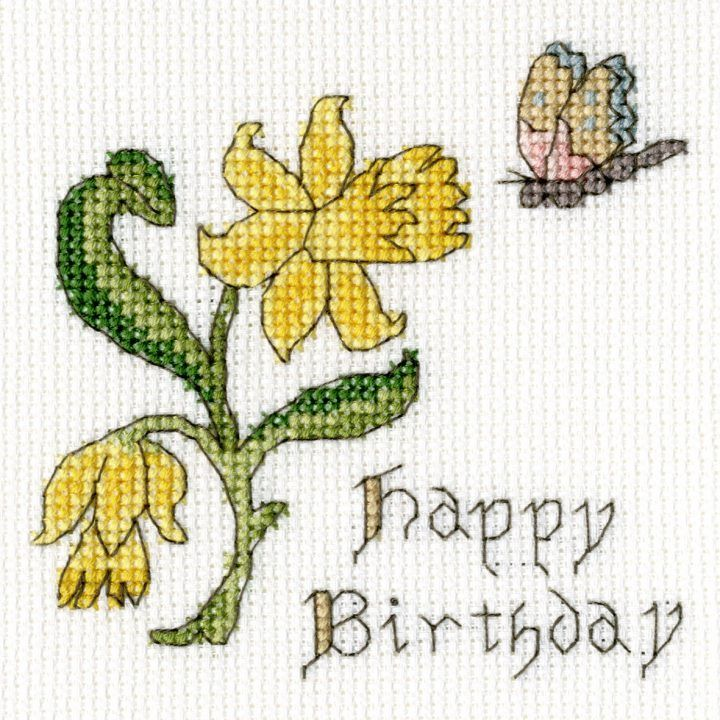 Daffodil Birthday Cross Stitch Card