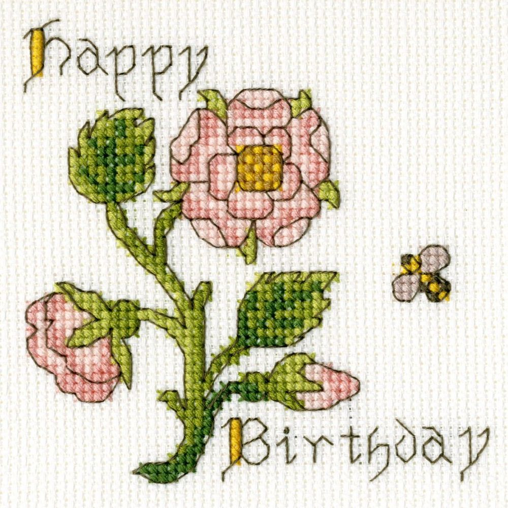 Rose Birthday Cross Stitch Card