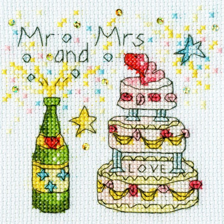 Cheers Wedding Cross Stitch Card