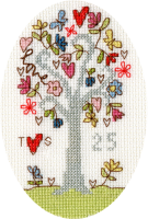 <!-- 022 -->Silver Celebration Anniversary Cross Stitch Card