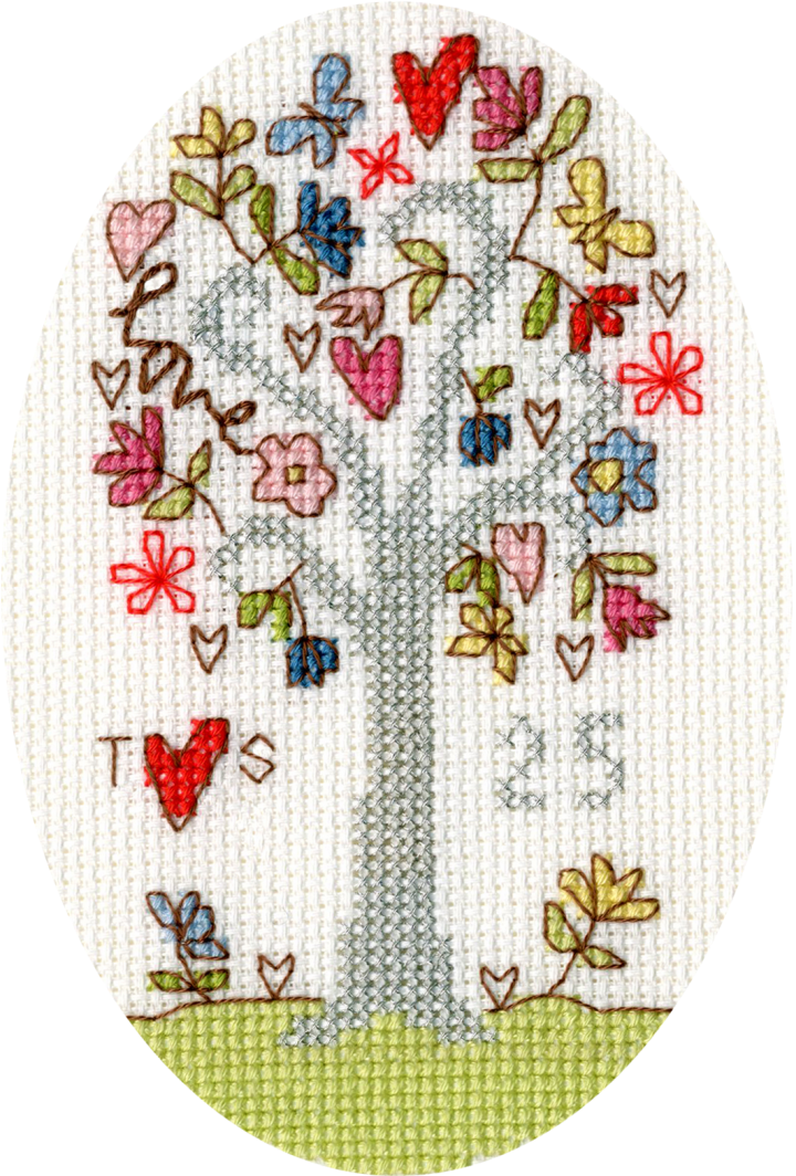 Silver Celebration Anniversary Cross Stitch Card
