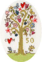 <!-- 026 -->Golden Celebration Anniversary Cross Stitch Card