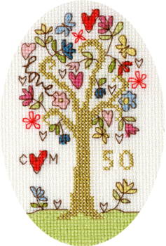 Golden Celebration Anniversary Cross Stitch Card