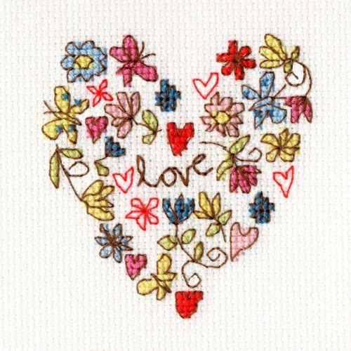 Sweet Heart Cross Stitch Card