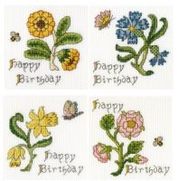 Set of 4 Birthday Cross Stitch Cards